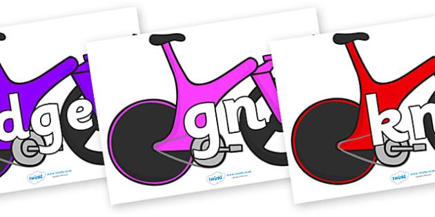 Silent Letters on Bikes - Silent Letters, silent letter, letter blend, consonant, consonants, digraph, trigraph, A-Z letters, literacy, alphabet, letters, alternative sounds