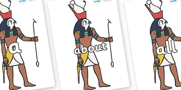 100 High Frequency Words on Egyptian Gods - High frequency words, hfw, DfES Letters and Sounds, Letters and Sounds, display words