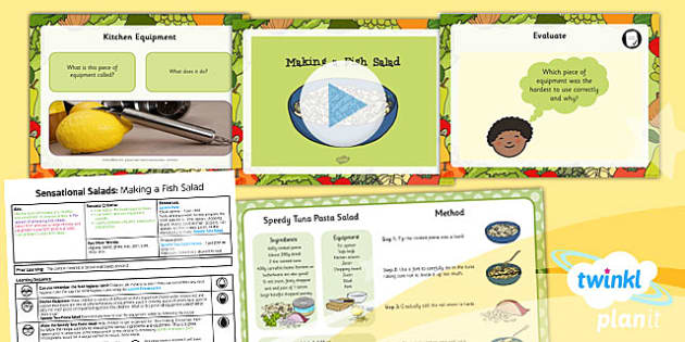 PlanIt D&T KS1 Sensational Salads Lesson 5 Making Fish Salad Pack