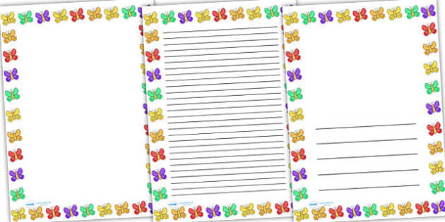 Butterfly Full Page Borders - page borders, butterfly page borders, butterfly borders for page, minibeast page borders, A4, border for page, lined pages
