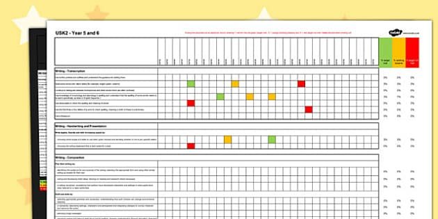 2014 Curriculum UKS2 Years English Writing Assessment Spreadsheet