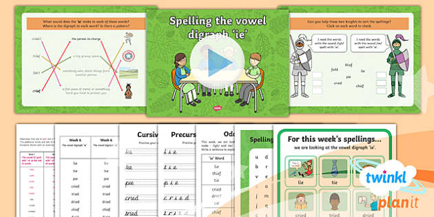 PlanIt Y1 Term 1B W6: 'ie' Spelling Pack - Spelling Packs Y1, Term 1B, 'ie'