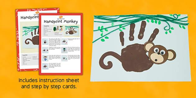 Handprint Monkey Craft Instructions - EYFS, KS1, craft, jungle, rainforest, Chinese New Year, animals