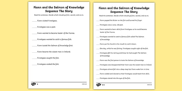 Fionn and the Salmon of Knowledge Differentiated Activity Sheets - Irish history, Irish story, Irish myth, Irish legends, Fionn and the Salmon of Knowledge, sequencing, sequence, reading, worksheet