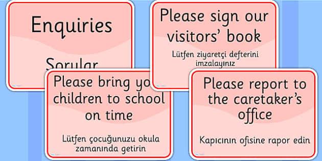 School Office Reception Signs EAL Turkish Version - EAL display