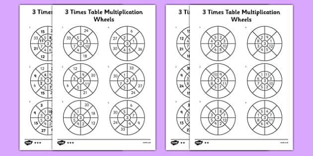 3 Times Table Multiplication Wheels Activity Sheet Pack - times