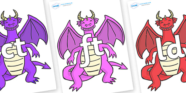 Final Letter Blends on Dragons (2) - Final Letters, final letter, letter blend, letter blends, consonant, consonants, digraph, trigraph, literacy, alphabet, letters, foundation stage literacy