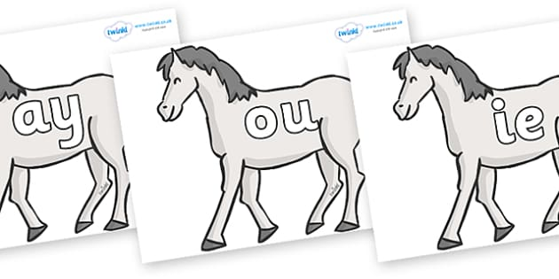 Phase 5 Phonemes on Horses - Phonemes, phoneme, Phase 5, Phase five, Foundation, Literacy, Letters and Sounds, DfES, display