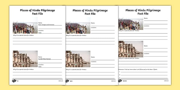 Places of Hindu Pilgrimage Fact File Writing Frames Differentiated - pilgrimage