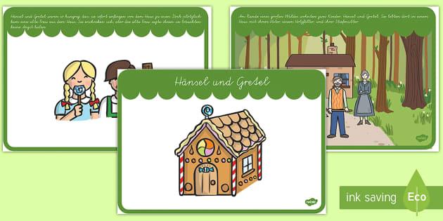 Hänsel und Gretel Bildergeschichte: DIN A4 Karteikarten - Hänsel und Gretel, Märchen, Bildergeschichte,German