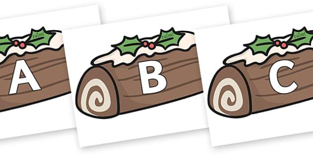A-Z Alphabet on Christmas Logs - A-Z, A4, display, Alphabet frieze, Display letters, Letter posters, A-Z letters, Alphabet flashcards