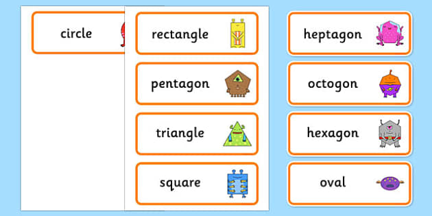 2D Shape Aliens Word Cards - 2d shape, aliens, word cards, word, cards