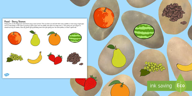 Fruit and Vegetable Story Stones Image Cut-Outs - fruit, vegetable, story stone, image, cut outs