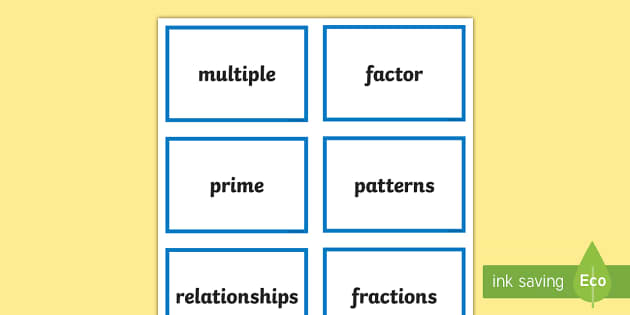 CfE Second Level Numeracy and Mathematics Multiples, Factors and Primes Keyword Flashcards - Wall Display, keywords, MNU 2-05a, language of maths, vocabulary, word wall,Scottish