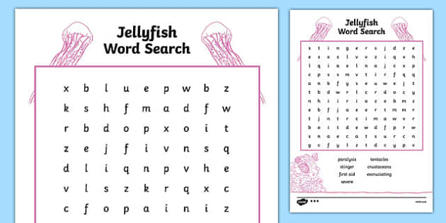 Australian Animals Years 3-6 Jellyfish Differentiated Word Search - australia, animals, years 3-6, jellyfish, differentiated, word search