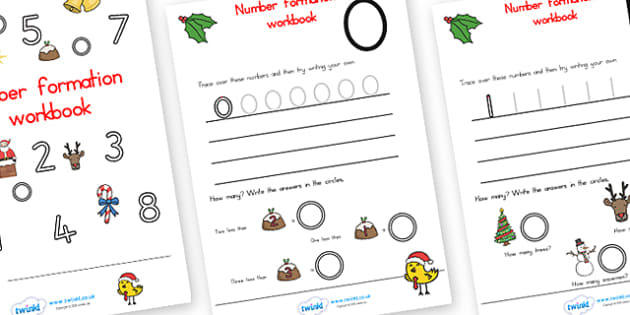 Christmas Number Formation Workbook - christmas, number formation