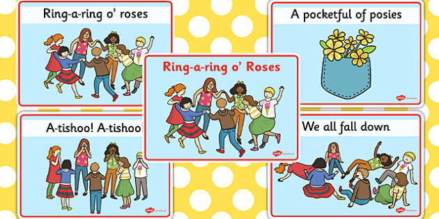 Ring-a-ring O' Roses Sequencing Cards - nursery rhyme, roses