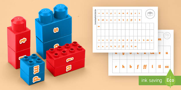 Phase 2 Phonics Matching Connecting Bricks Game - EYFS, Early years, KS1, Literacy, phonics, letters and sounds, lego, phase 2, word building reading,