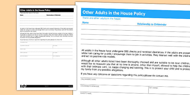 Childminder Other Adults in the House Policy - child minder