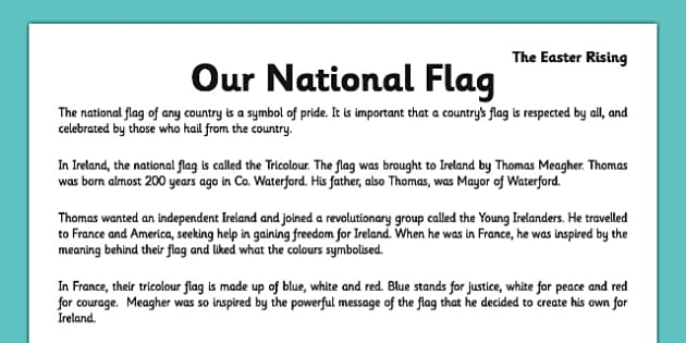 Irish History 1916 Rising Our National Flag Comprehension Activity Sheet - irish history, 1916 rising, easter rising, comprehension, ireland, tricolour, national flag, worksheet