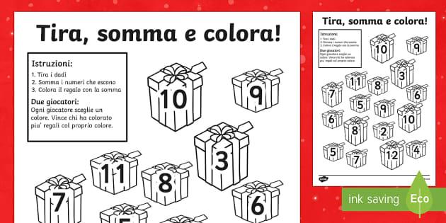 Tira somma e colora i regali di Natale esercizio - regali di Natale, addizioni, sottrazioni, natale, matematica, esercizi, seconda, prima, Buone feste,