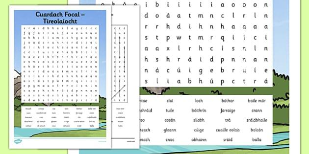 Irish Gaeilge Tíreolaíocht Word Search - irish, gaeilge, word search, pack, Tíreolaíocht