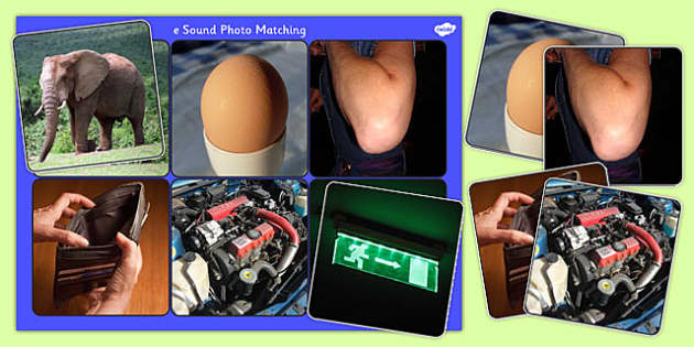 Initial e Sound Photo Matching Board and Cards - sounds, phonics