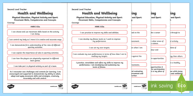 CfE Health and Wellbeing (Physical Education, Physical Health and Sport) Second Level Child Friendly Tracking