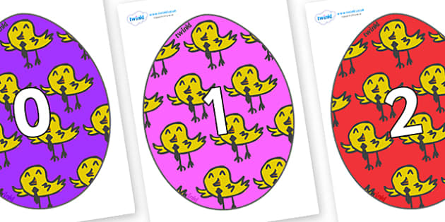 Numbers 0-50 on Easter Eggs (Chicks) - 0-50, foundation stage numeracy, Number recognition, Number flashcards, counting, number frieze, Display numbers, number posters