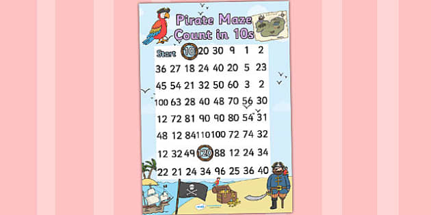 Pirate Themed Counting in 10s Maze Worksheet - pirates, count