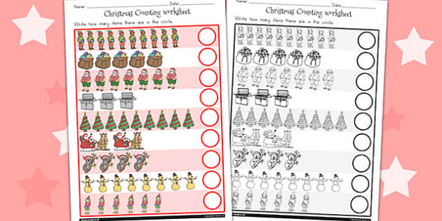 Christmas Counting Worksheet - australia, christmas, counting