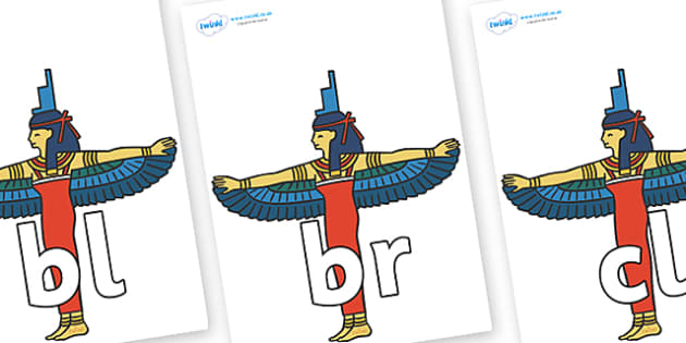 Initial Letter Blends on Egyptians - Initial Letters, initial letter, letter blend, letter blends, consonant, consonants, digraph, trigraph, literacy, alphabet, letters, foundation stage literacy