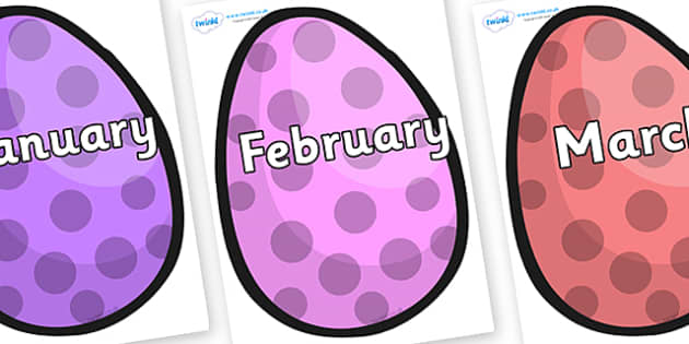 Months of the Year on Easter Eggs (Spots) - Months of the Year, Months poster, Months display, display, poster, frieze, Months, month, January, February, March, April, May, June, July, August, September