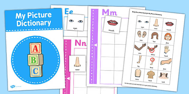 Picture Dictionary Body Parts Word Cards Pack - dictionary, pack