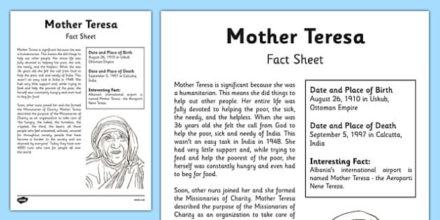 Mother Teresa Significant Individual Fact Sheet - mother teresa, significant individuals, fact sheet