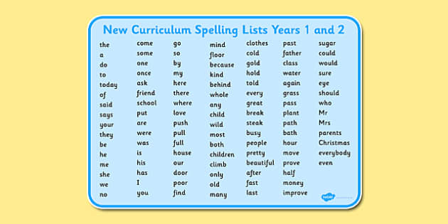 Worksheets 1 2 Spelling new curriculum spelling lists years 1 and 2 list year