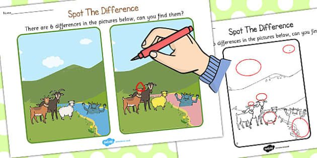 The Three Billy Goats Gruff Spot the Difference Activity - goats