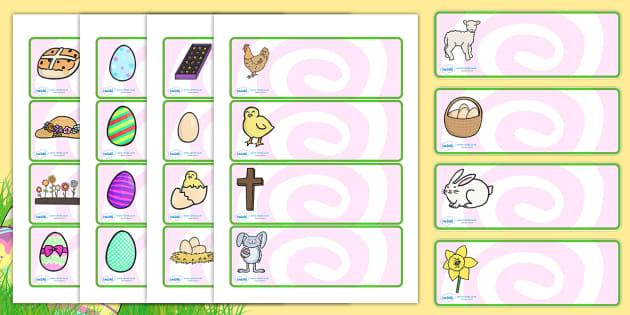 Easter Drawer Peg Name Labels - easter, labels, name labels, RE