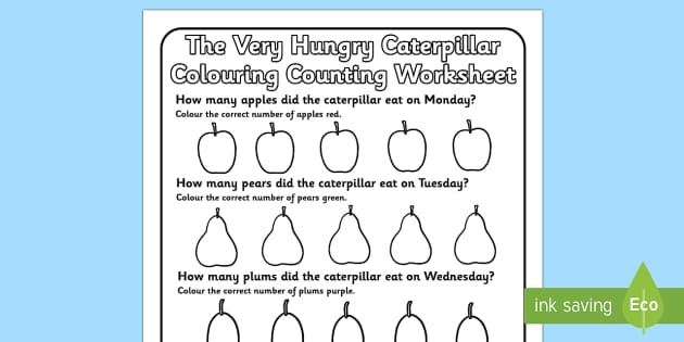 Colouring Counting Worksheet to Support Teaching on The Very Hungry Caterpillar - the very hungry caterpillar, colouring, counting, colouring sheet, counting sheet, worksheet
