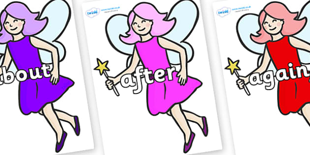 KS1 Keywords on Fairies - KS1, CLL, Communication language and literacy, Display, Key words, high frequency words, foundation stage literacy, DfES Letters and Sounds, Letters and Sounds, spelling