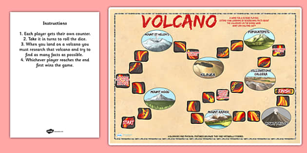 North American Volcanoes Board Game - geography, volcano, games