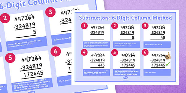 Subtracting 6-Digit Numbers Using Column Method Display Poster - subtracting, 6 digit, numbers, subtract, columnar, column method, display poster, display, poster, ks2, year 5, year 6, maths, add, subtract, formal