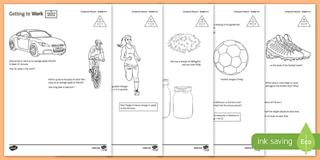 Measure at Home Compound Measures GCSE Grades 4 to 5 Activity Sheet Pack - measure at home, compound measures, gcse, grade, activity, worksheet