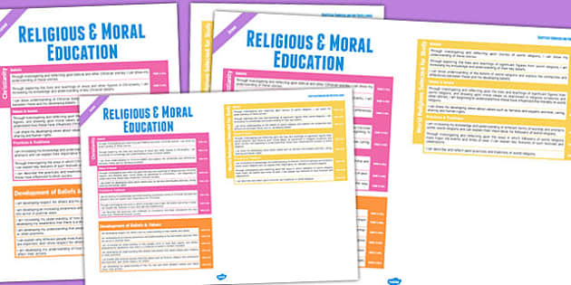 Scottish Curriculum Overview Posters Religious Moral Non Catholic