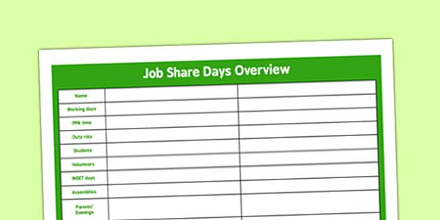 Job Share Days Overview - job share, days, overview, job, share