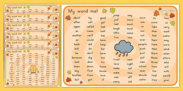 Autumn Themed KS1 Word Mats - seasons, visual aid, weather, write
