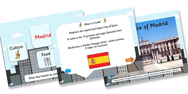 Madrid Information PowerPoint - madrid, madrid powerpoint, spanish capital, capital of spain, capital cities, information about madrid, spain, places, ks2