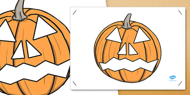 Large Pumpkin Face Cut Out - halloween, decoration, art, design, fun, games, filler, cutting, big, ks1, key stage 1, early years
