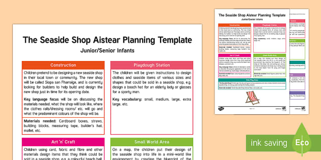 The Seaside Shop Aistear Planning Template - Aistear, Infants, English Oral Language, School, The Garda Station, The Hairdressers, The Airport, T