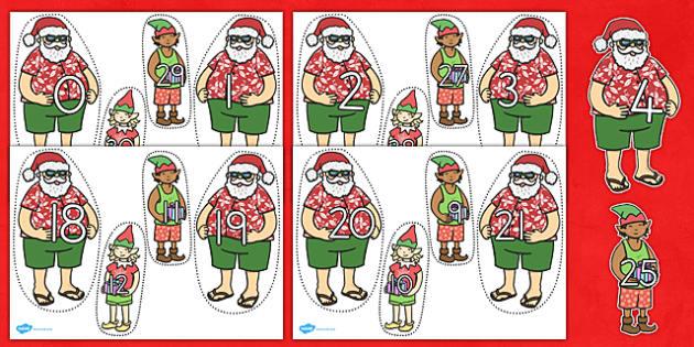Number Bonds to 30 Matching Activity Santa and Elves - australia
